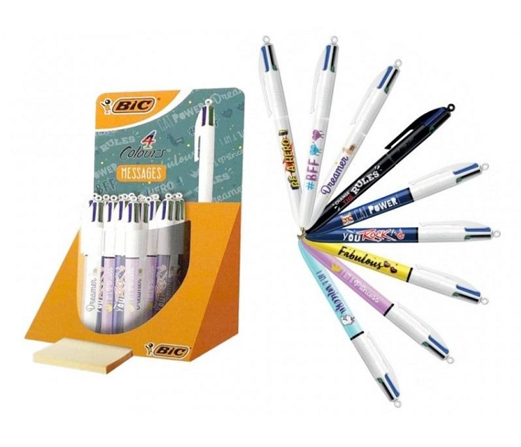 SFERA PENNA BIC 4 COLORI MESSAGES IN ESPOSITORE DA BANCO