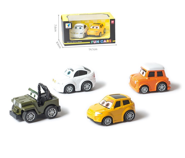 MACCHININA CARTOON CAR BOX 2PEZZI CON RETRORICARICA